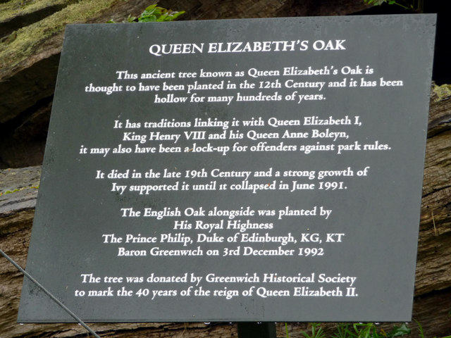 Plaque at Queen Elizabeth Oak